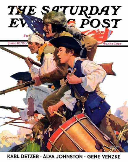 Maurice Bower Saturday Evening Post Minutemen 1936_06_13 | The Saturday Evening Post Graphic Art Covers 1931-1969
