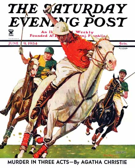 Maurice Bower Saturday Evening Post Polo Match 1934_06_09   The Saturday Evening Post Graphic Art Covers 1931-1969