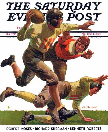 Maurice Bower Saturday Evening Post Quarterback Pass 1935_10_12 | The Saturday Evening Post Graphic Art Covers 1931-1969
