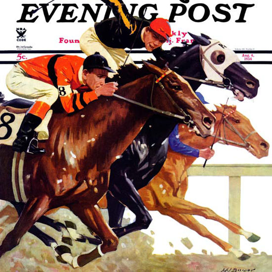 Maurice Bower Saturday Evening Post Race 1934_08_04 Copyright crop | Best of Vintage Cover Art 1900-1970