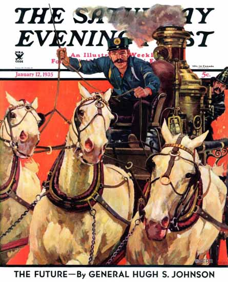 Maurice Bower Saturday Evening Post Racing to the Fire 1935_01_12 | The Saturday Evening Post Graphic Art Covers 1931-1969