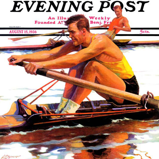 Maurice Bower Saturday Evening Post Sculling 1936_08_15 Copyright crop | Best of 1930s Ad and Cover Art