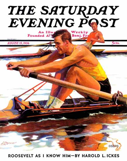 Maurice Bower Saturday Evening Post Sculling Race 1936_08_15 | The Saturday Evening Post Graphic Art Covers 1931-1969