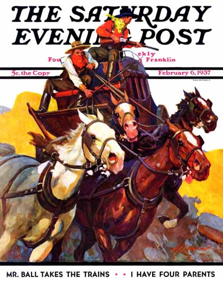 Maurice Bower Saturday Evening Post Speeding Stagecoach 1937_02_06 | The Saturday Evening Post Graphic Art Covers 1931-1969