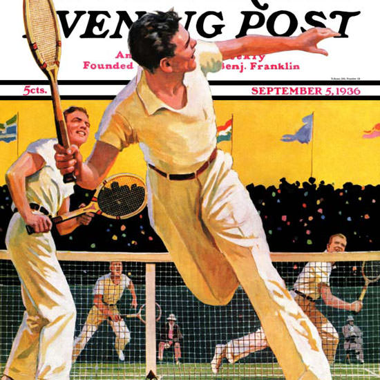 Maurice Bower Saturday Evening Post Tennis 1936_09_05 Copyright crop | Best of 1930s Ad and Cover Art