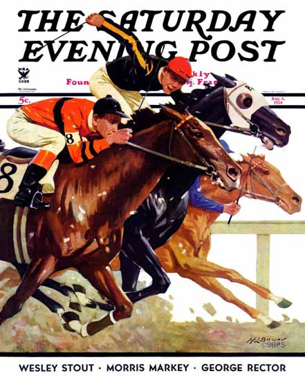 Maurice Bower Saturday Evening Post Thoroughbred Race 1934_08_04 | The Saturday Evening Post Graphic Art Covers 1931-1969