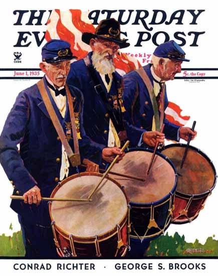 Maurice Bower Saturday Evening Post War Veterans 1935_06_01 | The Saturday Evening Post Graphic Art Covers 1931-1969
