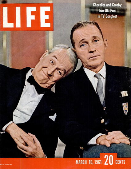 Maurice Chevalier and Bing Crosby 10 Mar 1961 Copyright Life Magazine | Life Magazine Color Photo Covers 1937-1970