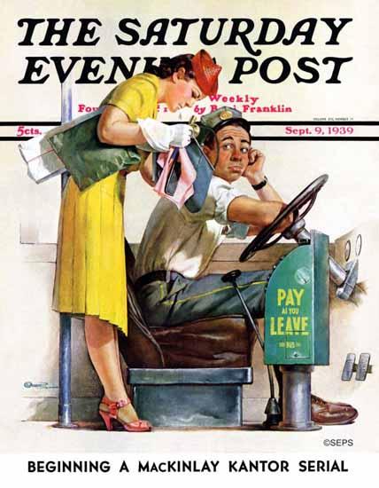 McCauley Conner Saturday Evening Post Bus Fare 1939_09_09 | The Saturday Evening Post Graphic Art Covers 1931-1969