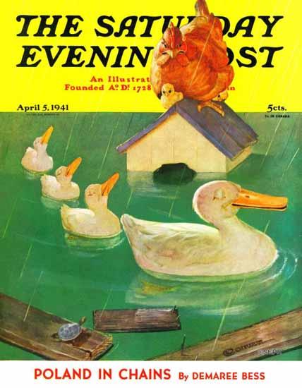 McCauley Conner Saturday Evening Post Ducks in a Flood 1941_04_05 | The Saturday Evening Post Graphic Art Covers 1931-1969