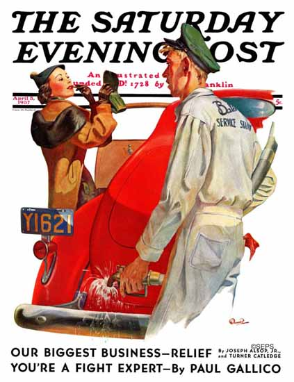 McCauley Conner Saturday Evening Post Fill her Up 1937_04_03 | The Saturday Evening Post Graphic Art Covers 1931-1969
