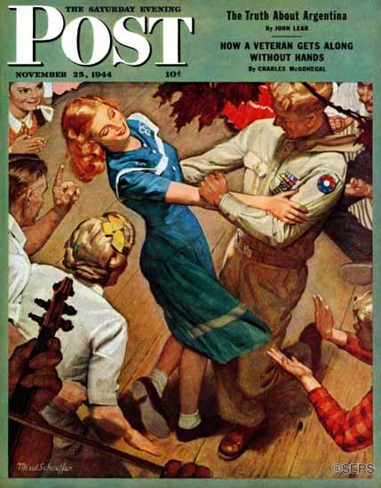 Mead Schaeffer Saturday Evening Post Barn Dance 1944_11_25 | The Saturday Evening Post Graphic Art Covers 1931-1969