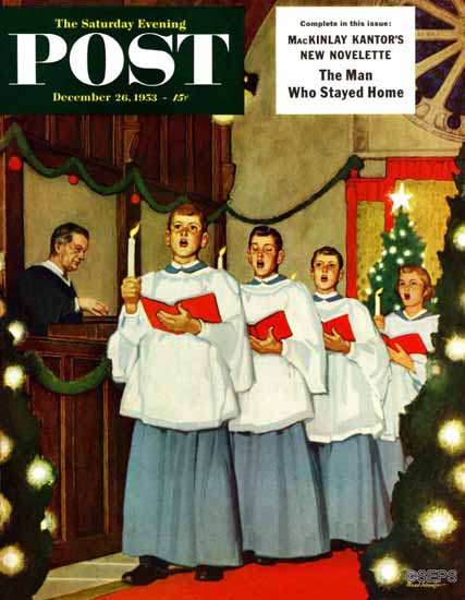 Mead Schaeffer Saturday Evening Post Boys Christmas Choir 1953_12_26 | The Saturday Evening Post Graphic Art Covers 1931-1969
