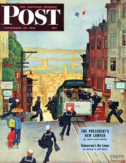 Mead Schaeffer Saturday Evening Post Cable Car 1945_09_29 | The Saturday Evening Post Graphic Art Covers 1931-1969
