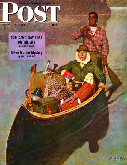 Mead Schaeffer Saturday Evening Post Canoe Fishing Trip 1947_07_12 | The Saturday Evening Post Graphic Art Covers 1931-1969