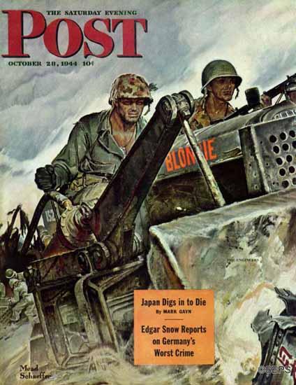 Mead Schaeffer Saturday Evening Post Corp of Engineers 1944_10_28   The Saturday Evening Post Graphic Art Covers 1931-1969