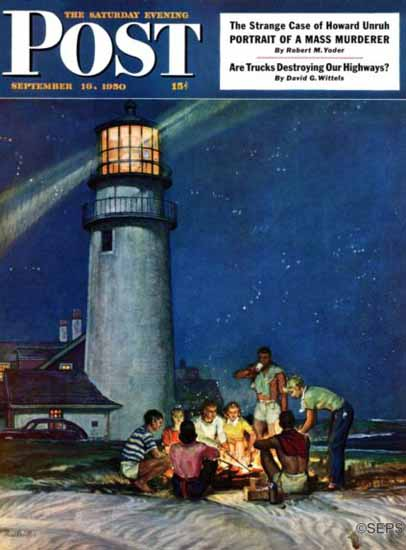 Mead Schaeffer Saturday Evening Post Cover Beach Bonfire 1950_09_16 | The Saturday Evening Post Graphic Art Covers 1931-1969