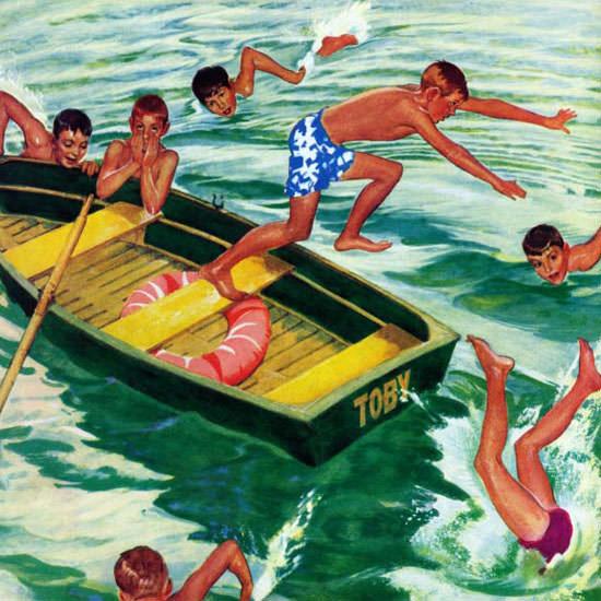 Mead Schaeffer Saturday Evening Post Diving 1952_07_12 Copyright crop | Best of Vintage Cover Art 1900-1970