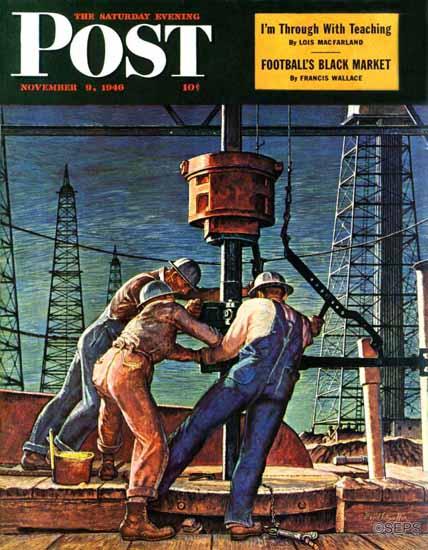 Mead Schaeffer Saturday Evening Post Drilling for Oil 1946_11_09 | The Saturday Evening Post Graphic Art Covers 1931-1969