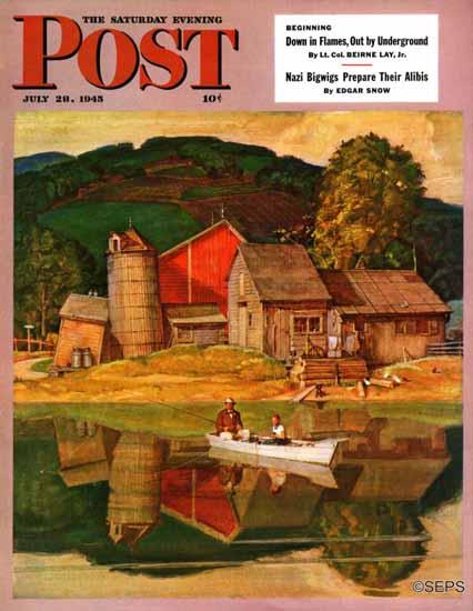 Mead Schaeffer Saturday Evening Post Farm Pond Landscape 1945_07_28   The Saturday Evening Post Graphic Art Covers 1931-1969