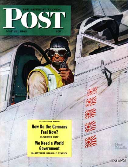 Mead Schaeffer Saturday Evening Post Fighter Pilot 1943_05_22 | The Saturday Evening Post Graphic Art Covers 1931-1969