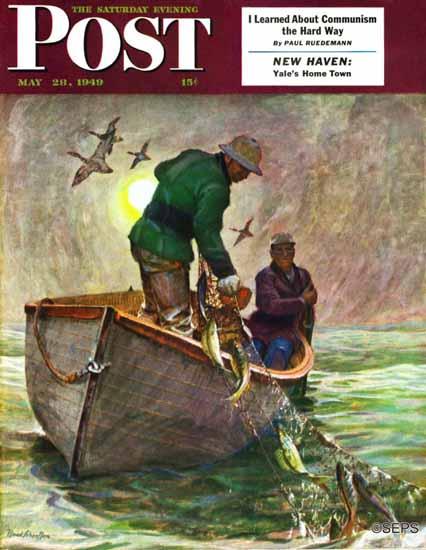 Mead Schaeffer Saturday Evening Post Fishing with Nets 1949_05_28 | The Saturday Evening Post Graphic Art Covers 1931-1969
