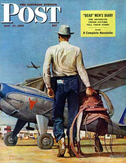Mead Schaeffer Saturday Evening Post Flying Cowboy 1947_05_17 | The Saturday Evening Post Graphic Art Covers 1931-1969