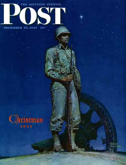 Mead Schaeffer Saturday Evening Post Lone Soldier 1943_12_25 | The Saturday Evening Post Graphic Art Covers 1931-1969