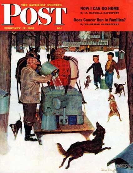 Mead Schaeffer Saturday Evening Post Maple Syrup Vermont 1945_02_17 | The Saturday Evening Post Graphic Art Covers 1931-1969