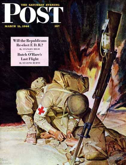 Mead Schaeffer Saturday Evening Post Medic Treating in Field 1944_03_11 | The Saturday Evening Post Graphic Art Covers 1931-1969