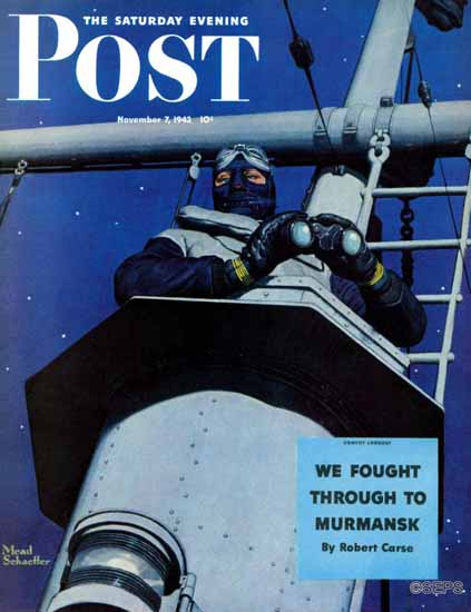 Mead Schaeffer Saturday Evening Post Naval Lookout 1942_11_07 | The Saturday Evening Post Graphic Art Covers 1931-1969