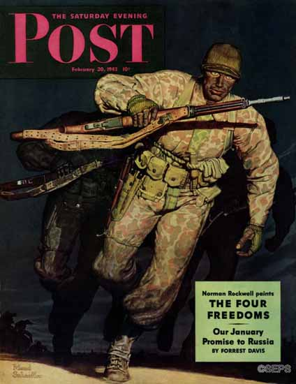 Mead Schaeffer Saturday Evening Post Night Attack 1943_02_20 | The Saturday Evening Post Graphic Art Covers 1931-1969