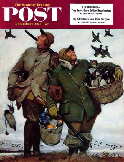 Mead Schaeffer Saturday Evening Post Nothing but Decoys 1951_12_01 | The Saturday Evening Post Graphic Art Covers 1931-1969