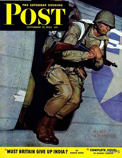 Mead Schaeffer Saturday Evening Post Paratrooper 1942_09_12 | The Saturday Evening Post Graphic Art Covers 1931-1969