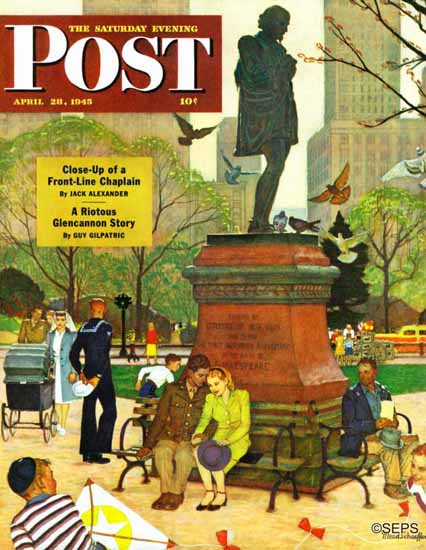 Mead Schaeffer Saturday Evening Post Romance Shakespeare 1945_04_28 | The Saturday Evening Post Graphic Art Covers 1931-1969