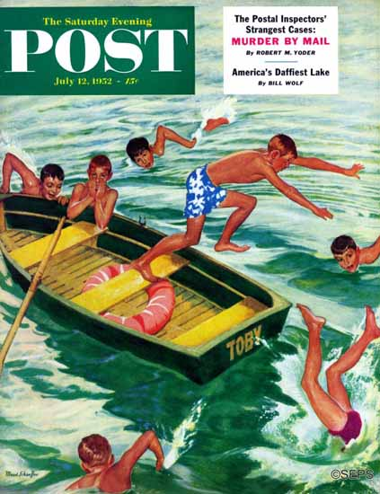 Mead Schaeffer Saturday Evening Post Rowboat Diving 1952_07_12 | The Saturday Evening Post Graphic Art Covers 1931-1969