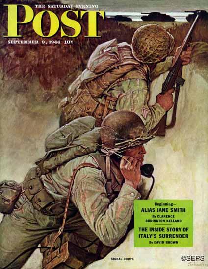 Mead Schaeffer Saturday Evening Post Signal Corpsmen 1944_09_09 | The Saturday Evening Post Graphic Art Covers 1931-1969