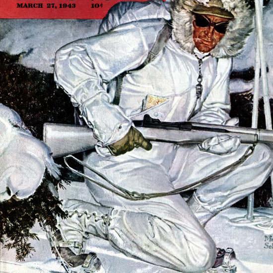 Mead Schaeffer Saturday Evening Post Ski 1943_03_27 Copyright crop | Best of Vintage Cover Art 1900-1970