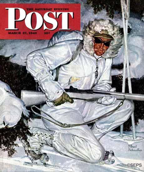 Mead Schaeffer Saturday Evening Post Ski Patrol Soldier 1943_03_27 | The Saturday Evening Post Graphic Art Covers 1931-1969