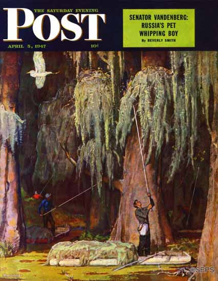 Mead Schaeffer Saturday Evening Post Spanish Moss Pickers 1947_04_05 | The Saturday Evening Post Graphic Art Covers 1931-1969