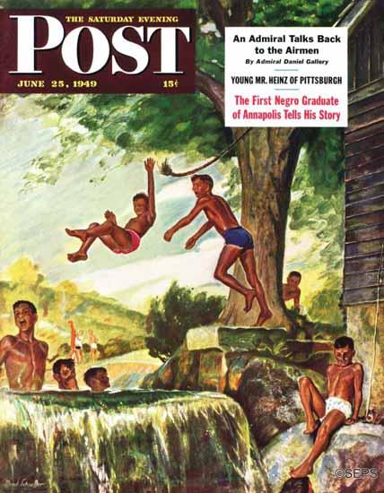 Mead Schaeffer Saturday Evening Post Swimming Hole 1949_06_25   The Saturday Evening Post Graphic Art Covers 1931-1969