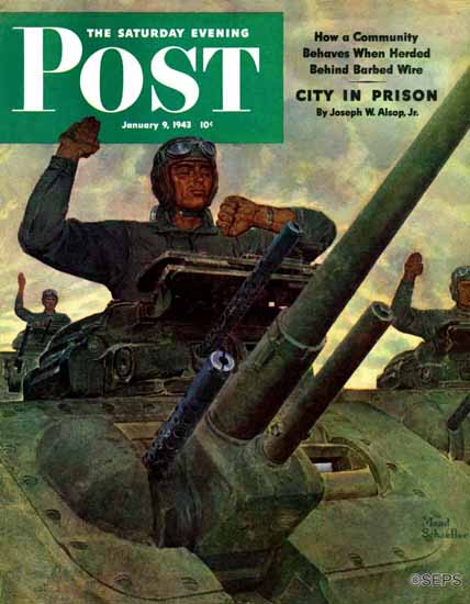 Mead Schaeffer Saturday Evening Post Tank Attack 1943_01_09 | The Saturday Evening Post Graphic Art Covers 1931-1969