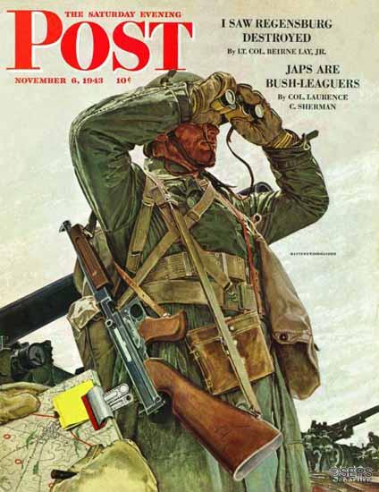 Mead Schaeffer Saturday Evening Post Tank Patrol 1943_11_06 | The Saturday Evening Post Graphic Art Covers 1931-1969