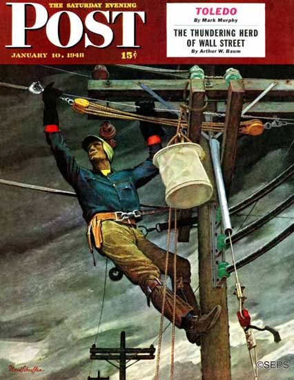 Mead Schaeffer Saturday Evening Post Telephone Lineman 1948_01_10 | The Saturday Evening Post Graphic Art Covers 1931-1969