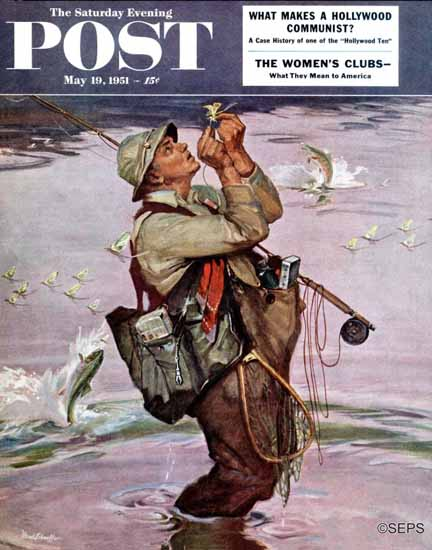 Mead Schaeffer Saturday Evening Post The Fish are Jumping 1951_05_19 | The Saturday Evening Post Graphic Art Covers 1931-1969
