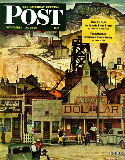 Mead Schaeffer Saturday Evening Post The Silver Dollar 1945_11_10 | The Saturday Evening Post Graphic Art Covers 1931-1969
