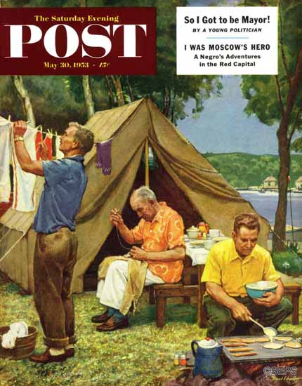 Mead Schaeffer Saturday Evening Post Three Generations 1953_05_30 | The Saturday Evening Post Graphic Art Covers 1931-1969