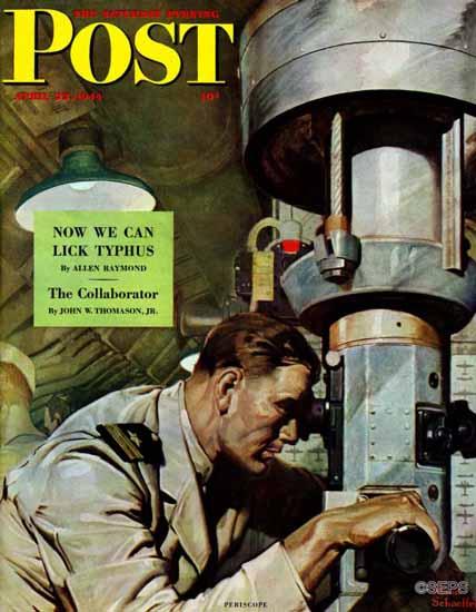 Mead Schaeffer Saturday Evening Post Up Periscope 1944_04_22 | The Saturday Evening Post Graphic Art Covers 1931-1969