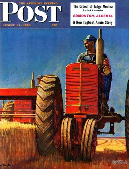Mead Schaeffer Saturday Evening Post Wheat Harvest 1950_08_12 | The Saturday Evening Post Graphic Art Covers 1931-1969