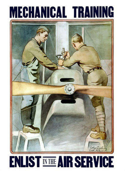 Mecanical Training Enlist In The Air Service Pllane | Vintage War Propaganda Posters 1891-1970